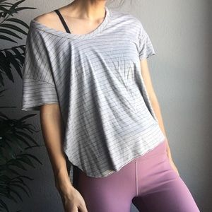 Tops - Gray black striped crop shirt size medium